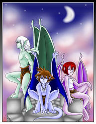 KH-Gargoyles Trio - FINISHED by purplelemon
