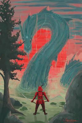 samurai facing a serpent