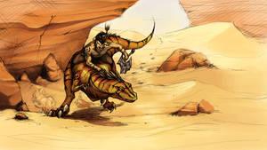Raptor rider by Myrmirada
