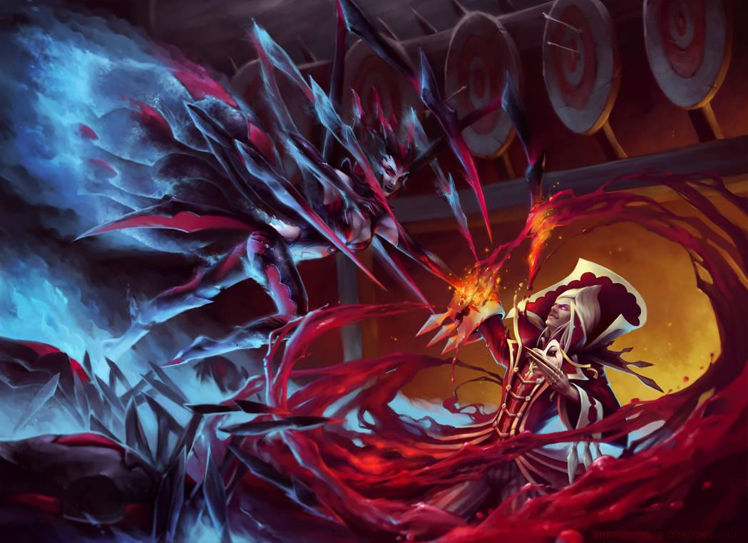 League of legends - Elise vs Vladimir by Myrmirada
