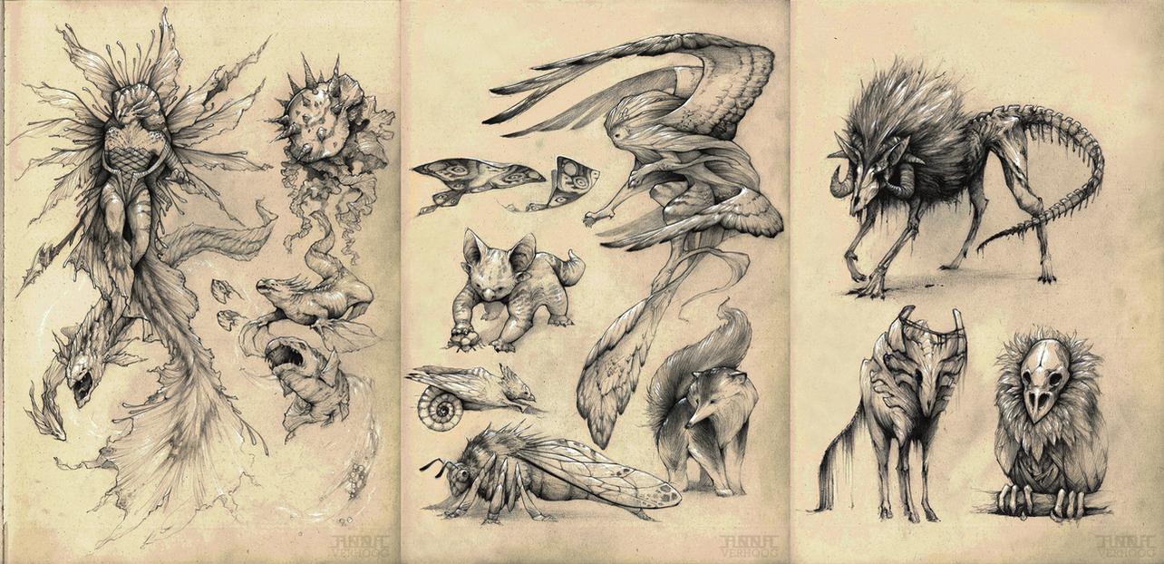 Creature concepts by Myrmirada