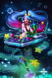 Arcade Sona - LoL Fanart by Myrmirada