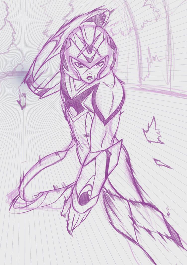 Model x pencil sketch by amo17