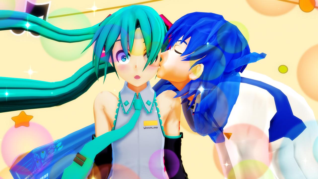 mmd surprise kiss revenge miku x kaito by mrxumxum on