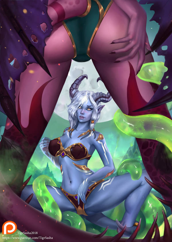 Succubus and Drenei - World of Warcraft by Tigrsasha