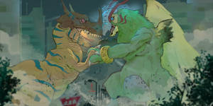 Digimon Greymon vs Parrotmon fanart by Halimunali