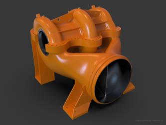 Render of huge oil pump CAD model by car2ner