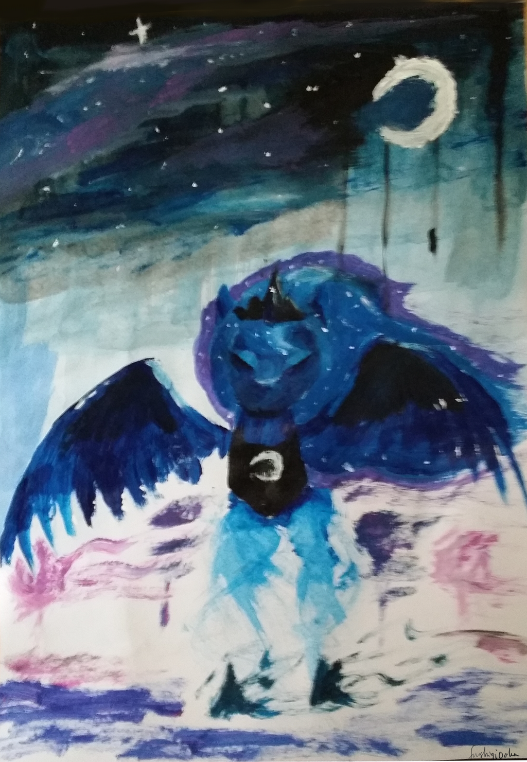 Princess Luna under the night sky by FushigiOoka