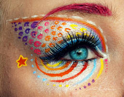 Rainbow Girl Make up by PixieCold