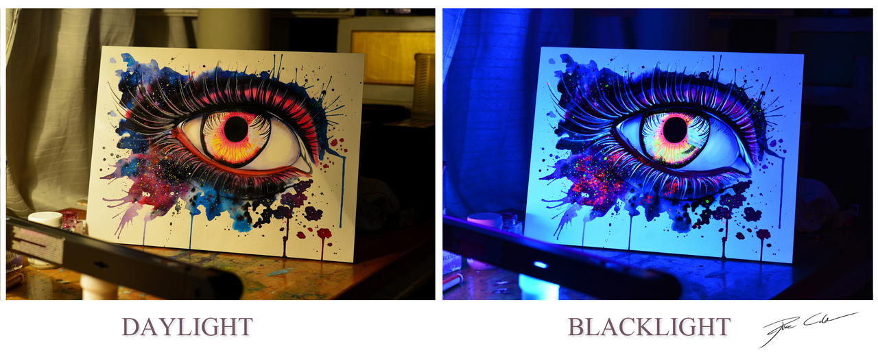 Rolling in the deep -blacklight painting- by PixieCold