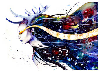 Goddess of galaxy (original on sale) by PixieCold
