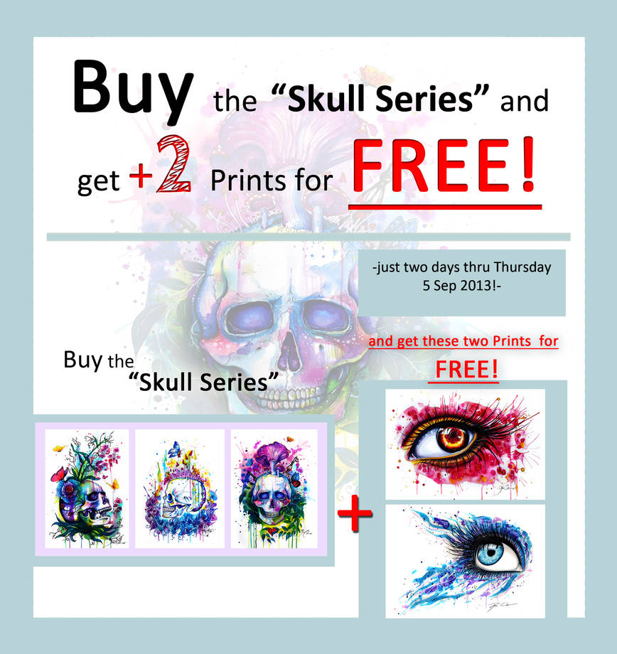 Buy the skull series and get two Prints for FREE!! by PixieCold