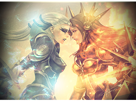 LoL : Leona vs Diana Signature by DarkRed21