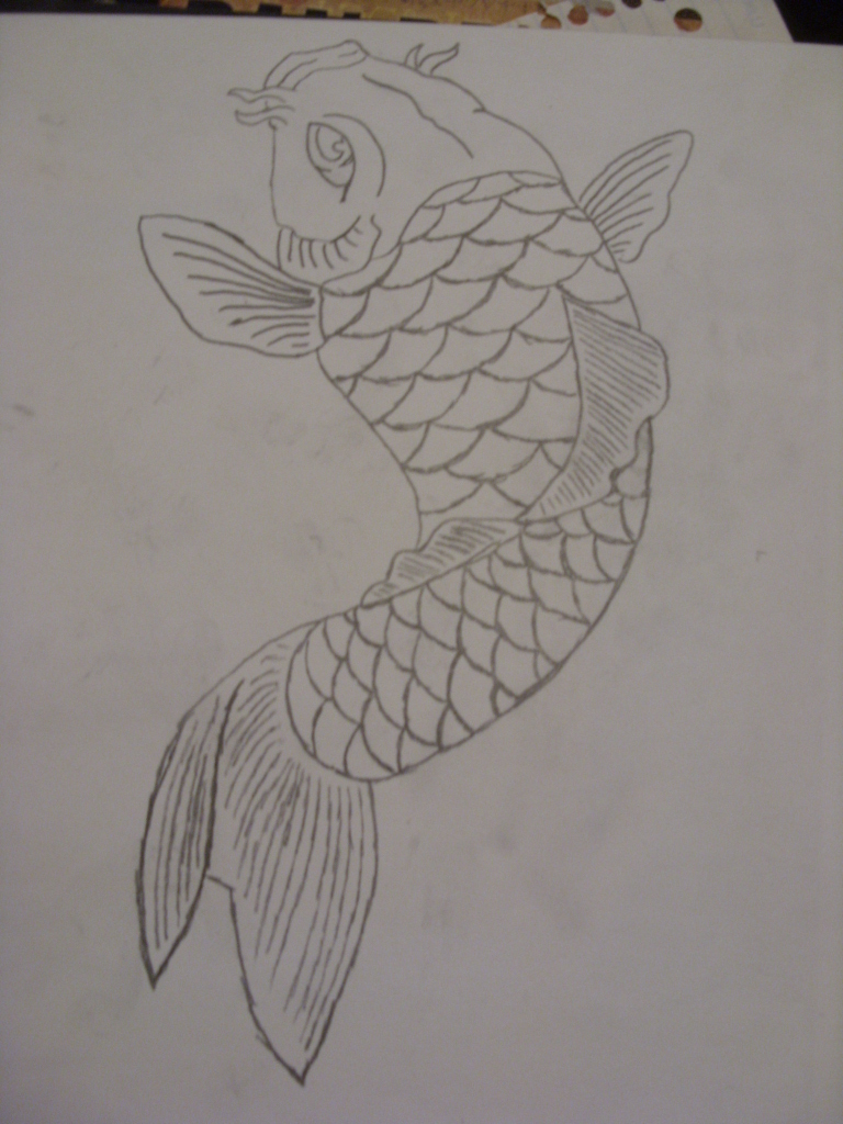 Pencil koi fish by pyro61636 on deviantart for Coy fish drawing