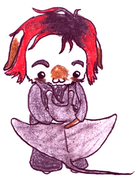 Chibi Sarah hugging a ray by ayellowbirds
