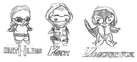 Tiny superhero sketches by ayellowbirds