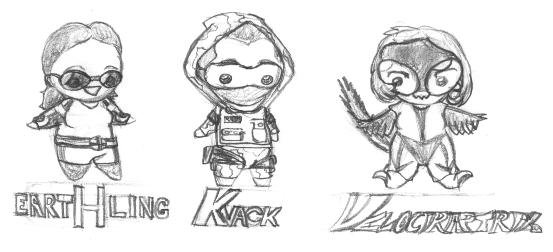 Tiny superhero sketches