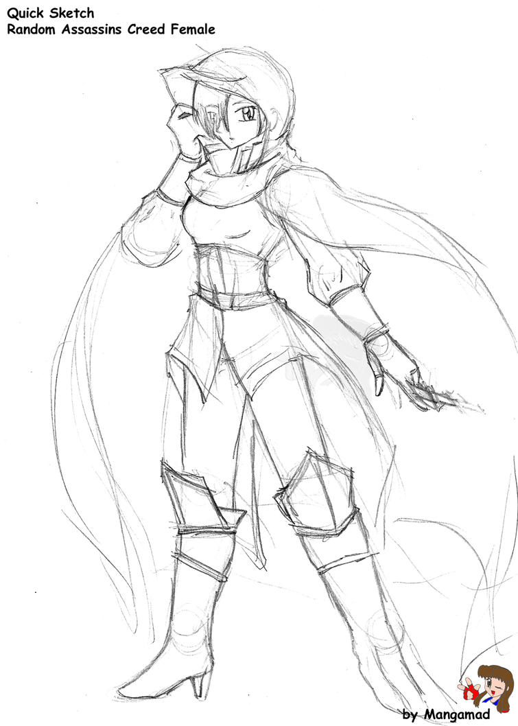 Assassins Creed Female Sketch by Mangamad on DeviantArt