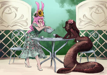 [ C ] Hannah and Mirandi at tea party by CyciTheConqueror