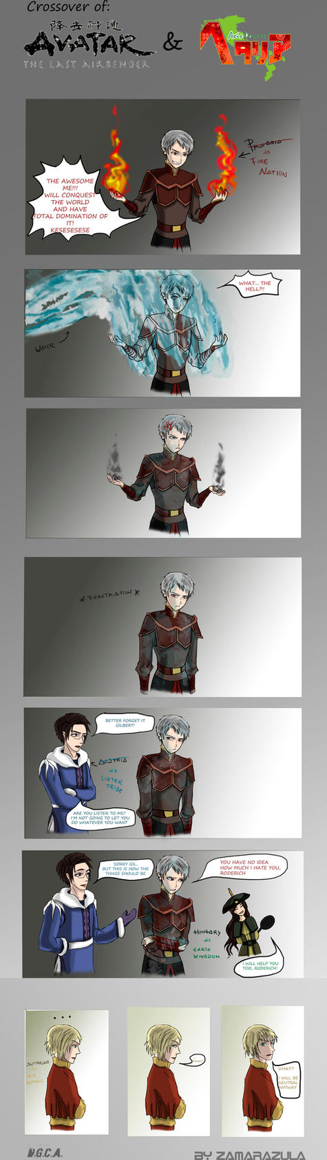 Hetalia and ATLA Crossover by Zamarazula
