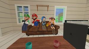 Mario, Luigi, Meggy and Tari playing video games