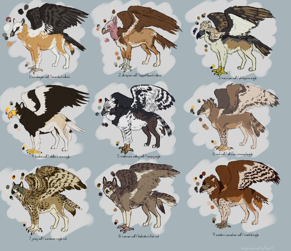 Predatory Bird / Wolf Griffs (closed) by Pred-Adopts