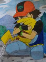 Ash and Pikachu cuddle by Ash-Misty-Pikachu