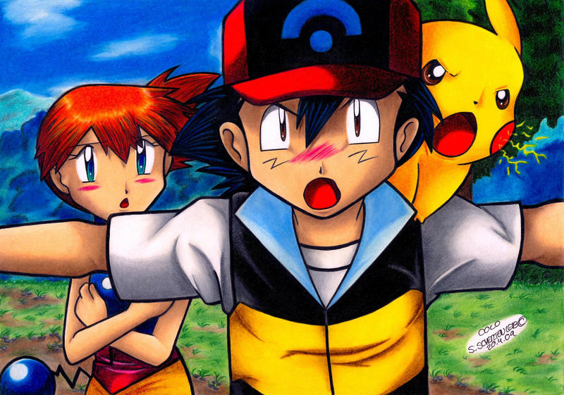 Ash Pikachu And Misty From Pokemon By Bluethunderil On Deviantart