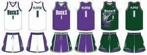 1994-2001 Milwaukee Bucks uniforms