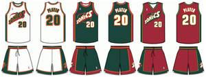 1995-2001 Seattle Supersonics uniforms
