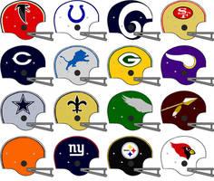 NFL 2 bar team helmets 1967