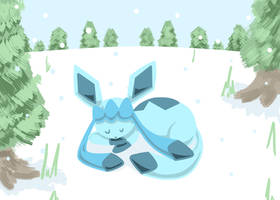 Sleeping glaceon by cartoonboyplz