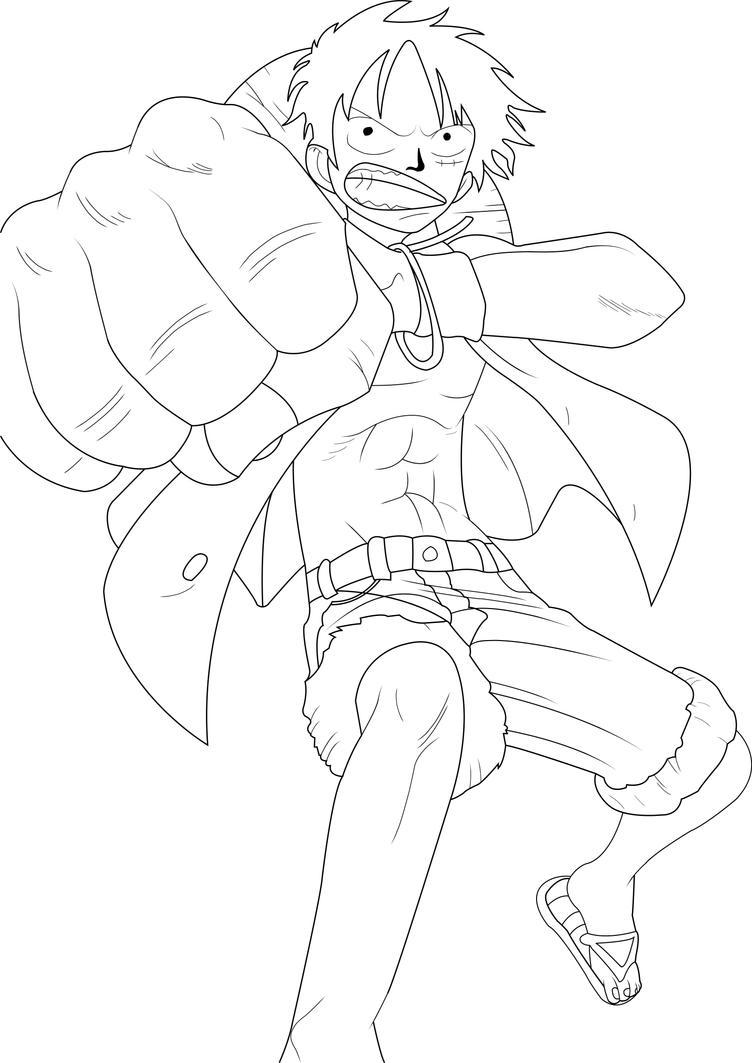 One Piece Lineart : Straw hat luffy line art by on deviantart