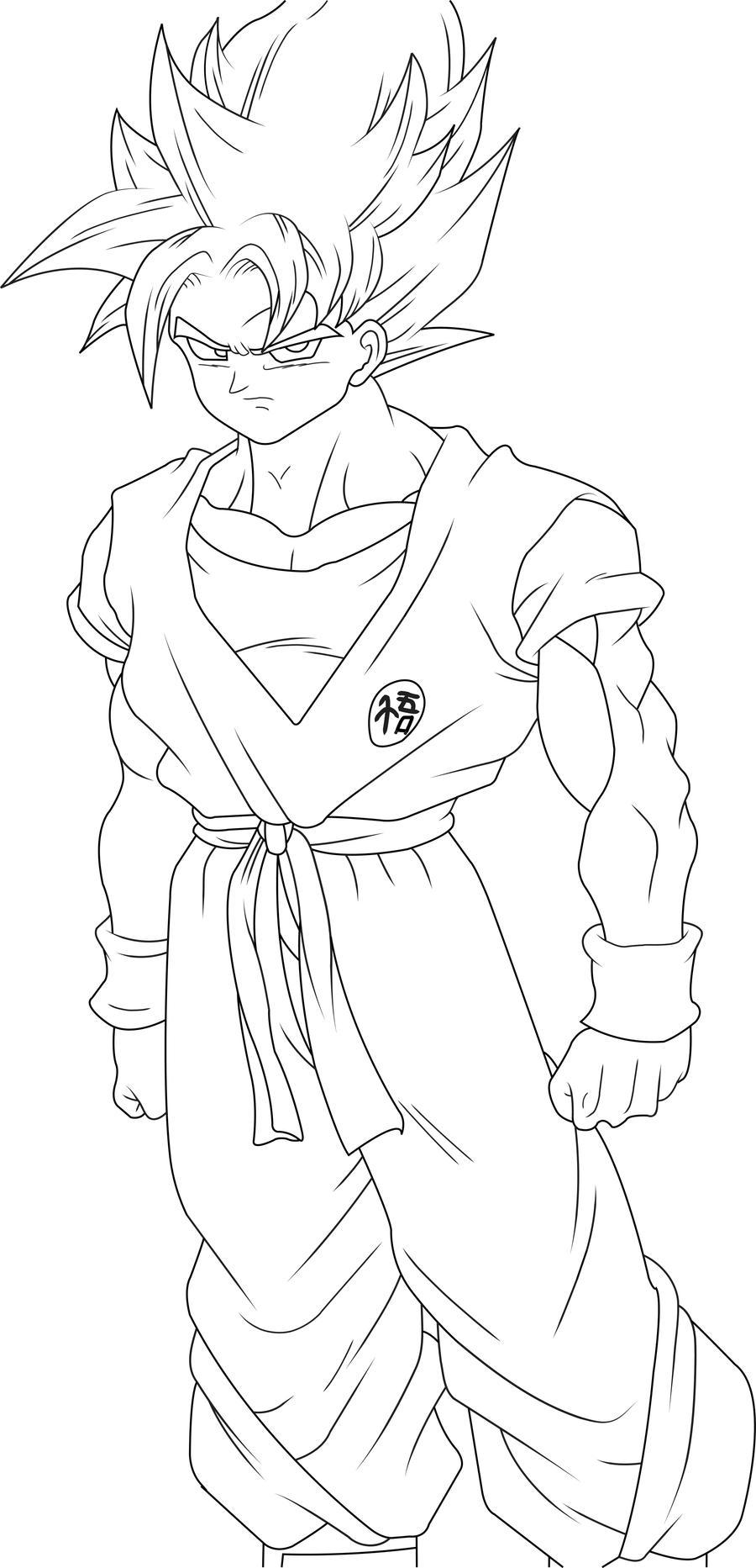 Super Saiyan Goku Line Art by luffy12356 on DeviantArt