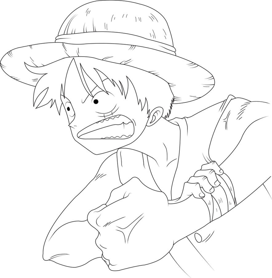 Luffy Lineart : Luffy line art by on deviantart