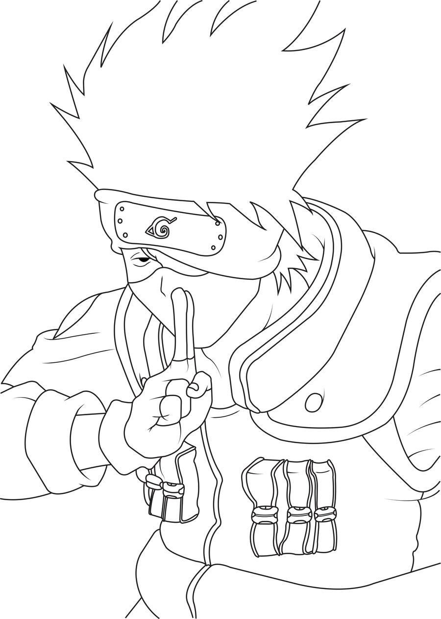 Kakashi Hatake Line Art by luffy12356 on DeviantArt