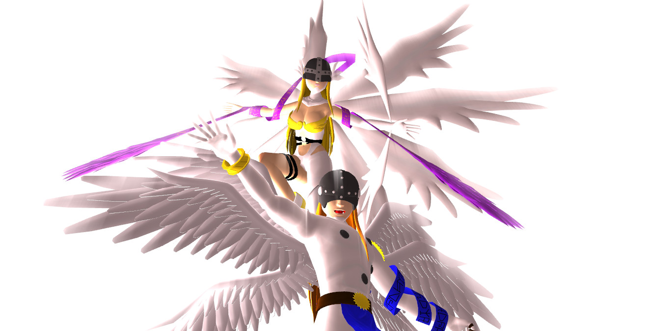 MMD Angemon and Angewomon by KingdomHeartsNickey
