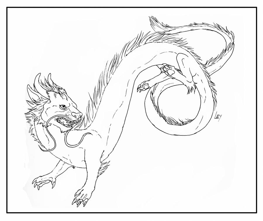 chinese dragon line art