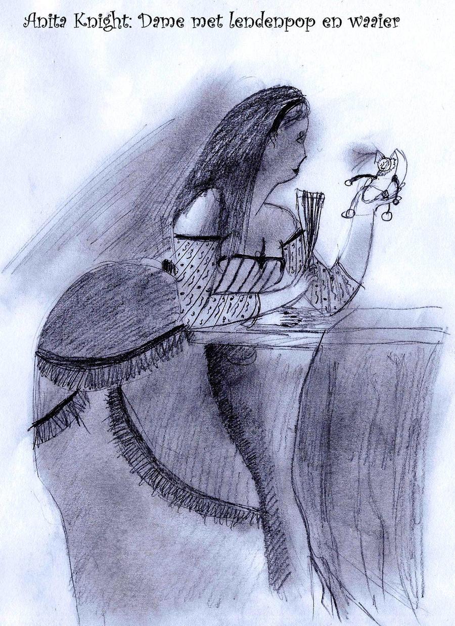 Anita Knight: Lady with fan by Eszies-Eszie
