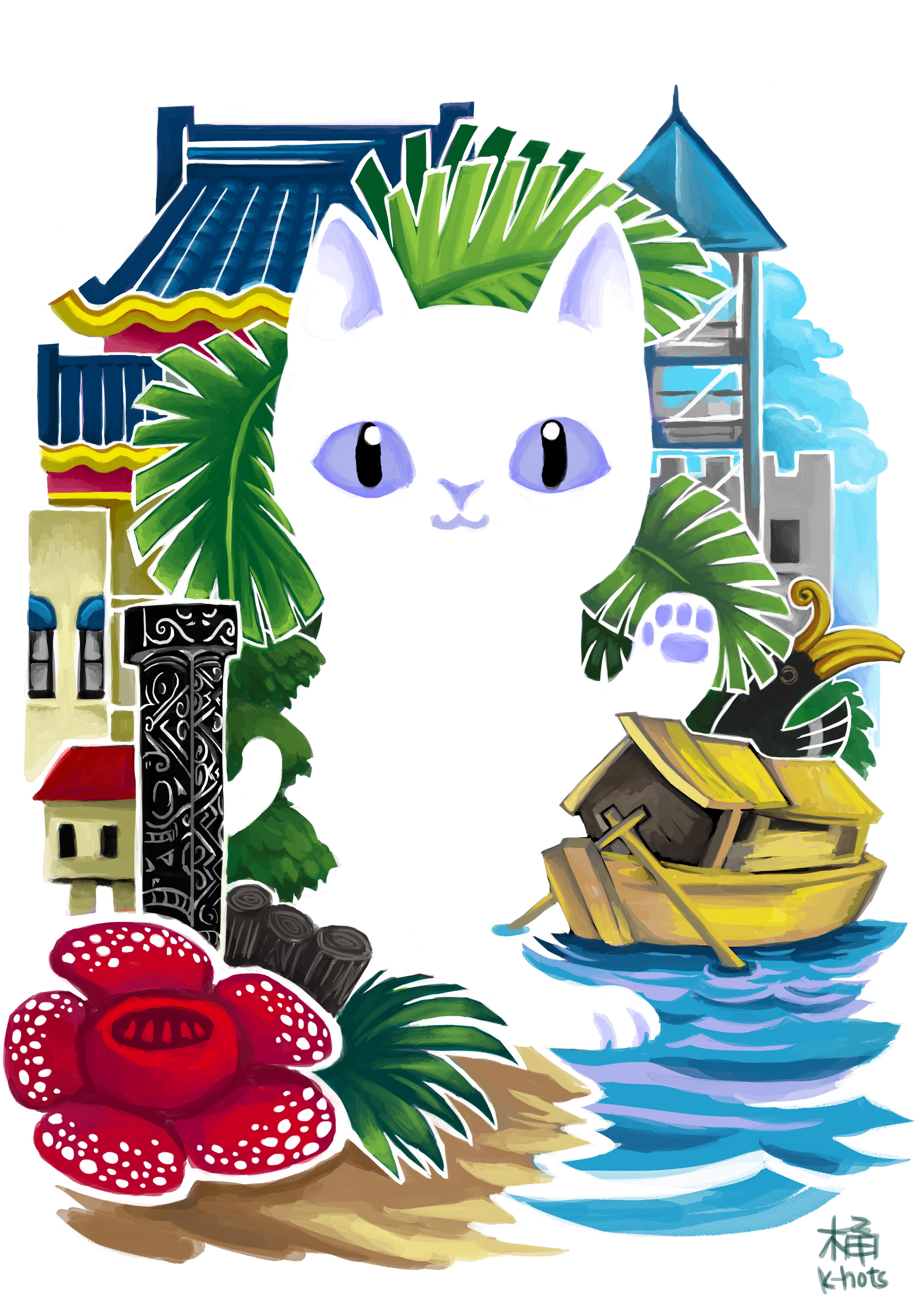 Kuching white cat by k hots on deviantart for Home wallpaper kuching