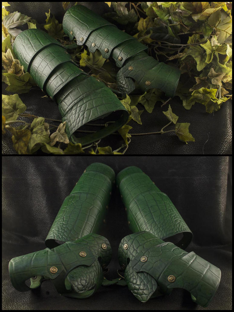 Forest Green Dragon Scale Gauntlets and Bracers by ChaoseVIIn