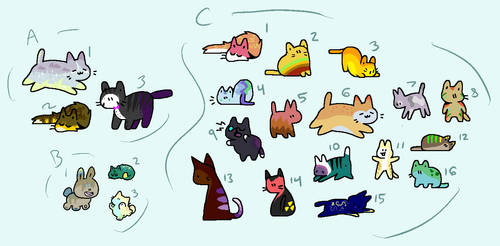Leftover Reduced Price Toony Cat Adopts [OPEN] by codeflsh