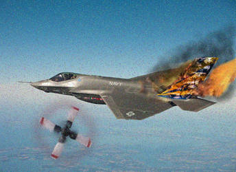 F-35 Lighting after unfortunate dog fight by zefrof