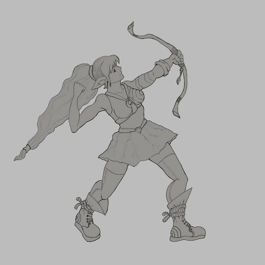 Elf Archer Linework by Elehisie
