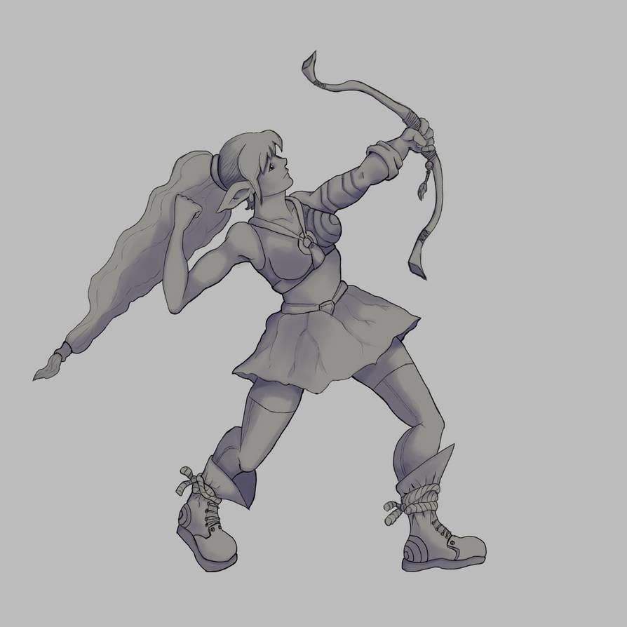 Elf Archer Shadows Redone by Elehisie