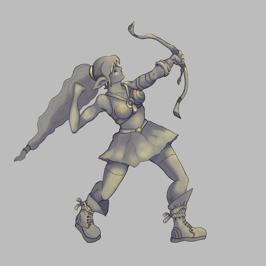 Elf Archer Shadowsandhighlight by Elehisie