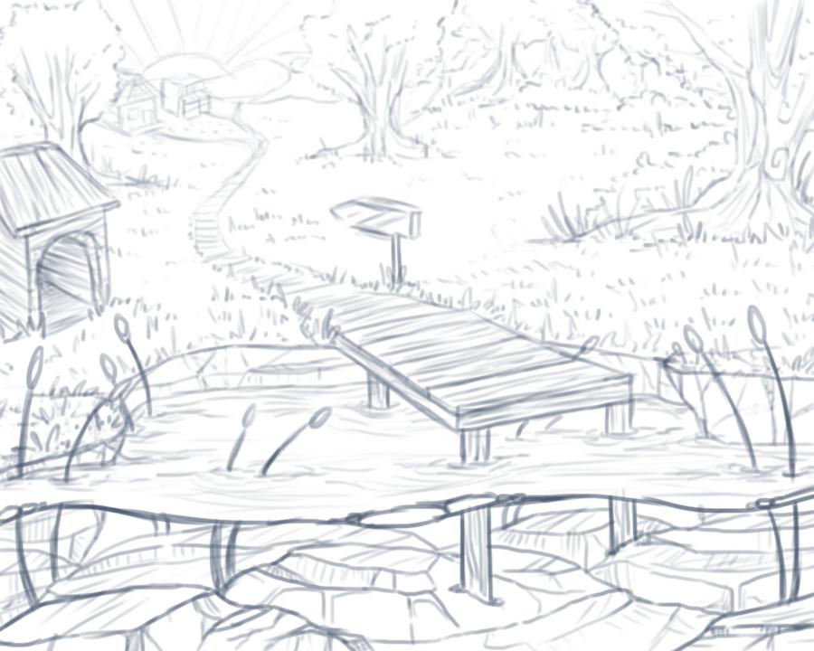 pond sketch by caughtinthehurricane on deviantart