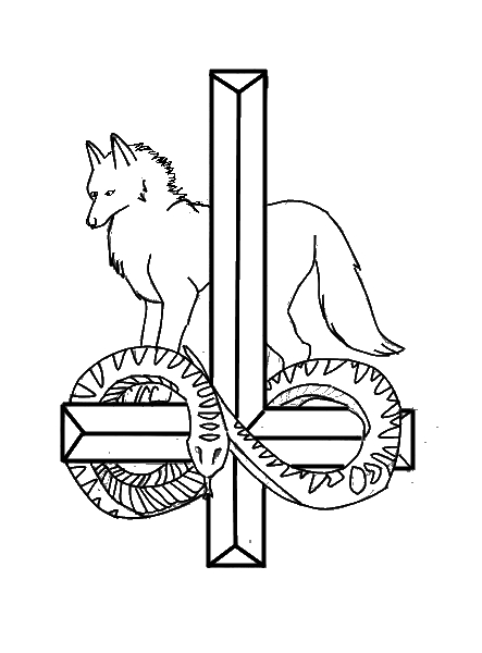 wolf upsidedown cross by sylverwind wolfenkin on