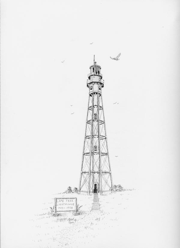 Old Stage Harbor Lighthouse Cape Cod Drawing by Ira Shander   Cape Fear Lighthouse Line Drawing