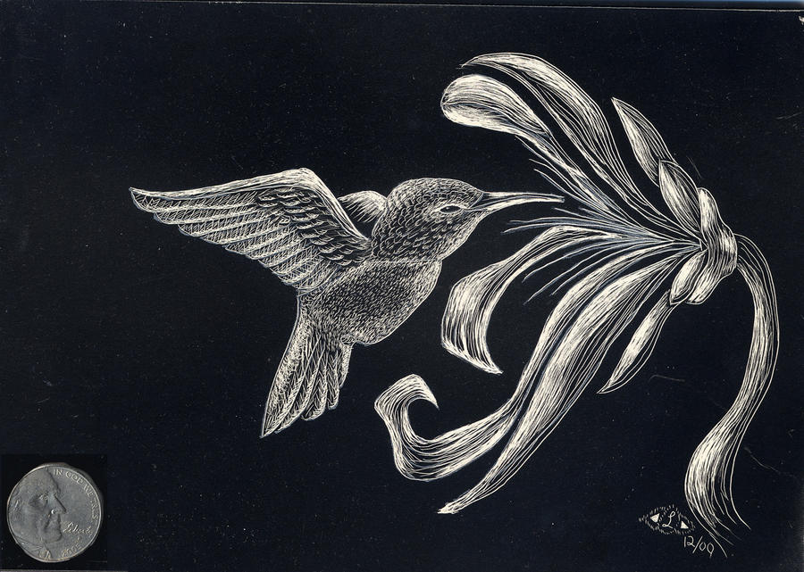 Black And White Scratch Art Flowers